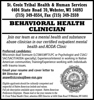 Behavioral Health Clinician