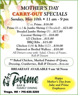 Mother's Day Carry-Out Specials
