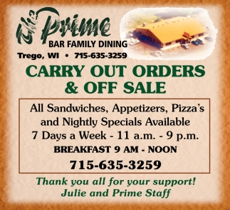 Carry Out Orders $ OFF Sale