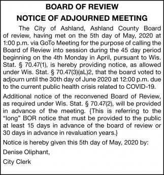 Notice of Adjourned Meeting