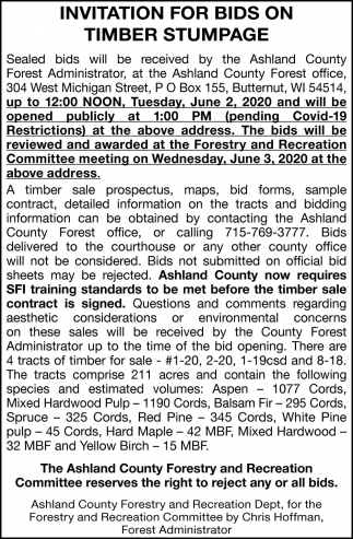 Invitation for Bids on Timber Stumpage
