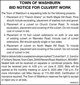 Bid Notice for Culvert Work