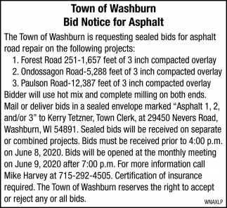 Bid Notice for Asphalt