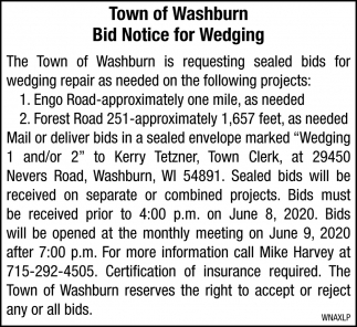 Bid Notice for Wedging