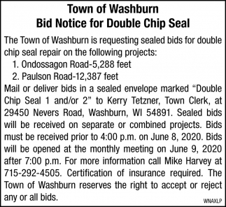 Bid Notice for Double Chip Seal