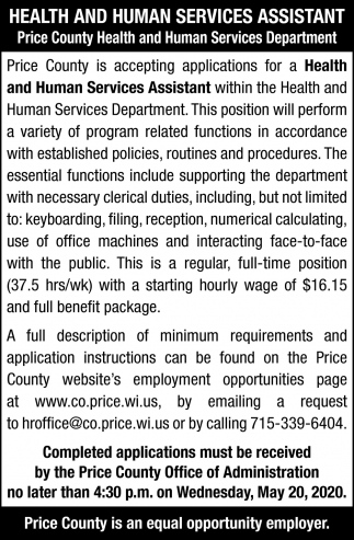 Health and Human Services Assistant