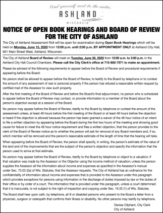 Notice of Open Book Hearing