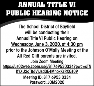 Annual Title VI Public Hearing Notice
