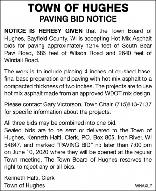 Paving Bid Notice