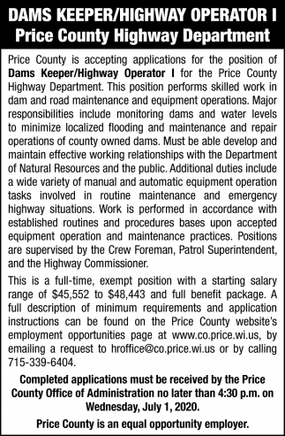 Dams Keeper/Highway Operator I