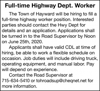 Full-Time Highway Dept. Worker