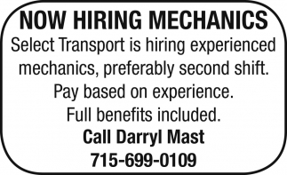 Now Hiring Mechanics