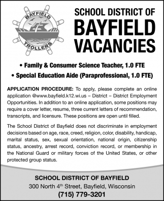 Bayfield Vacancies