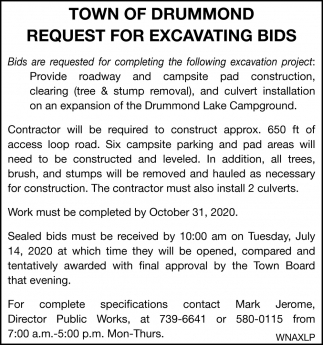 Request for Excavating Bids