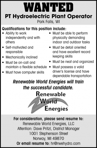 Wanted PT Hydroelectric Plant Operator