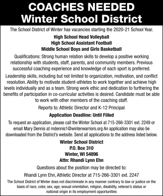 Coaches Needed