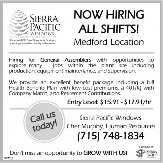 Now Hiring! All Shifts