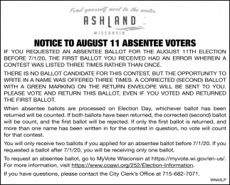 Notice to August 11 Absentee Voters