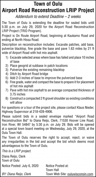 Airport Road Reconstruction LRIP Project