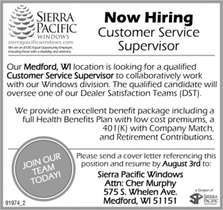Now Hiring Customer Service Supervisor