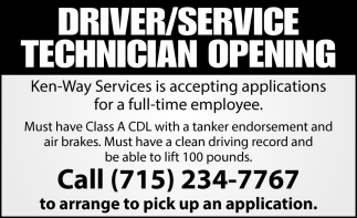 Driver/Service Technician Opening