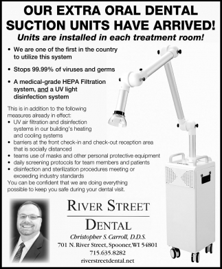 Our Extra Oral Dental Sution Units Have Arrived