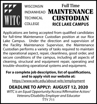 Full Time Maintenance Custodian