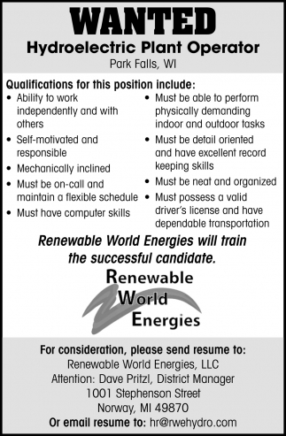 Wanted Hydroelectric Plant Operator