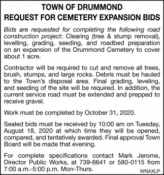 Request for Road Construction Bids