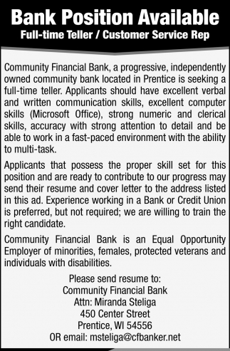 Bank Position Available