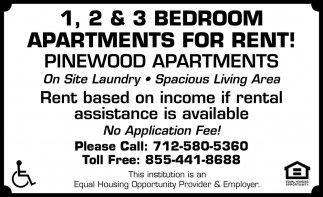 1, 2 & 3 Bedroom Apartments for Rent