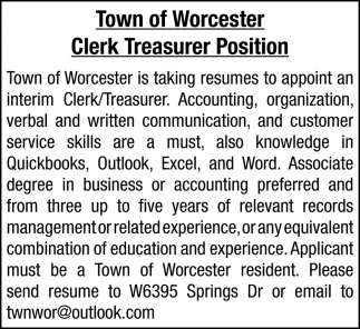 Clerk Treasurer Position