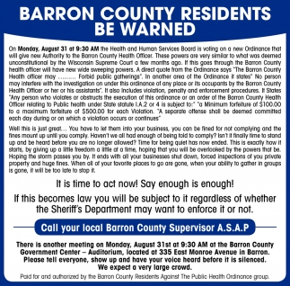 Barron County Residents Be Warned