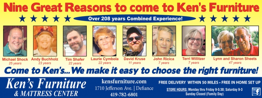 Nine Great Reasons to Come to Ken's Furniture
