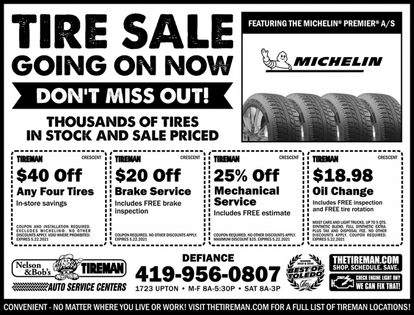 Tire Sale Going Out Now