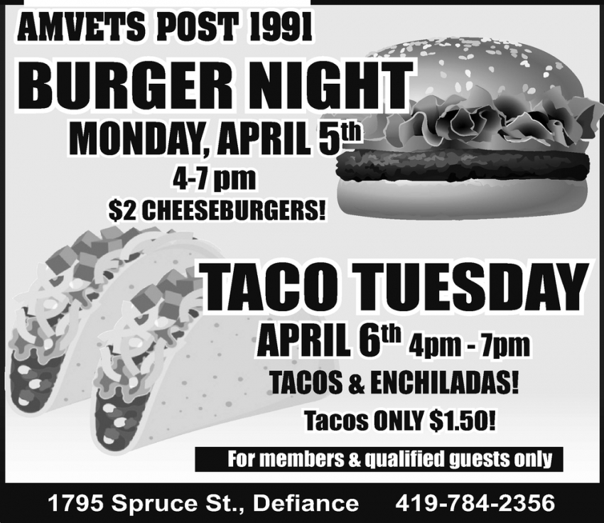 Burger Night & Taco Tuesday
