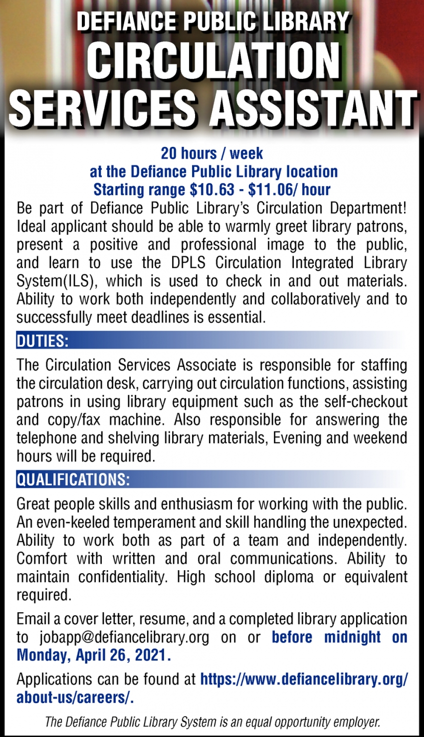 Circulation Services Assistant