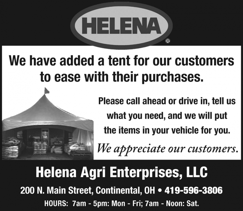 We Have Added a Tent for Our Customers to Ease With Their Purchases