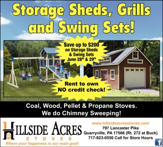 Storage Sheds, Grills and Swing Sets!