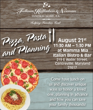Pizza, pasta and Planning