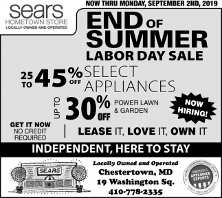 End of Summer Labor Day Sale