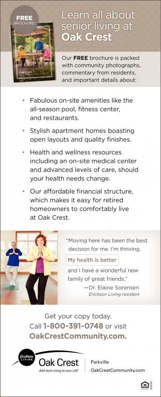 Learn All About Senior Living at Oak Crest
