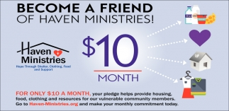 Become a Friend of Haven Ministries