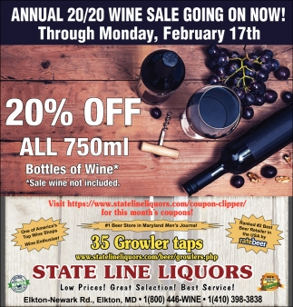 20% OFF All 750ml Bottles of Wine