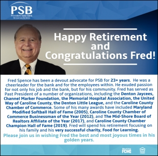 Happy Retirement and Congratulations Fred!