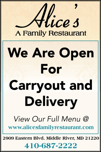 We Are Open for Carryout and Delivery