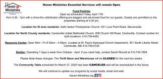 Essential Services Will Remain Open