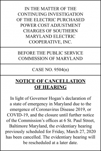 Notice of Cancellation of Hearing