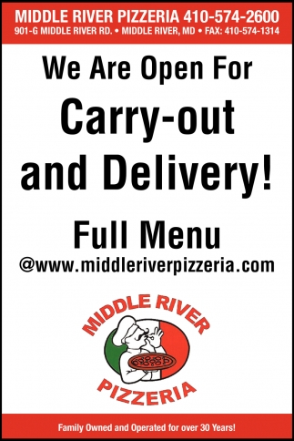 We Are Open for Carry-Out and Delivery