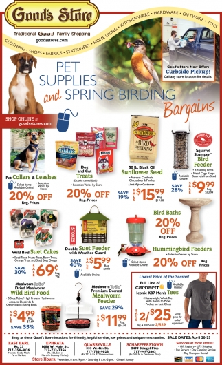 Pet Supplies and Spring Birding